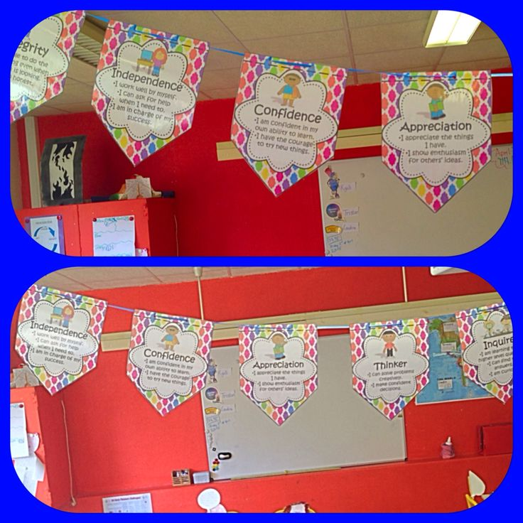 Colorful bunting for IB PYP Learner Profile and Attitudes, easy to assemble and hangs beautifully.