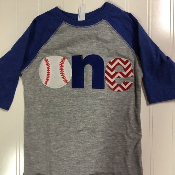 One Baseball Raglan Shirt Royal Blue First Birthday Theme 1st Sports Baby Red Chevron