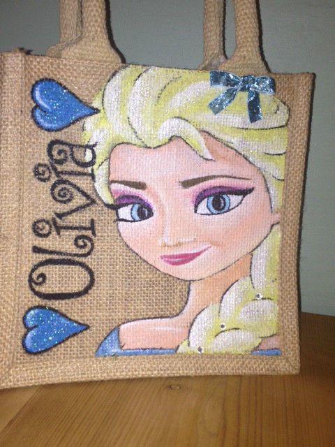 Personalised Hand Painted Elsa Frozen any Princess Jute Bag