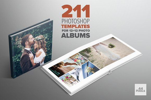 Photoshop templates for 12x12 albums by 44 pixels on @creativemarket