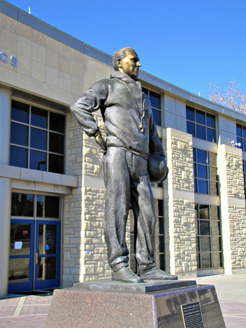 Phog Allen, the ledgendary coach of Kansas University basketball  stands guard in front of Allen Fieldhouse, possibly the most  ledgendary basketball venue in the world. Built in the 1950s