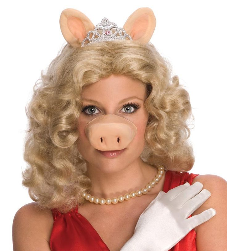 The Muppets Miss Piggy Costume Mask With Ears & Tiara