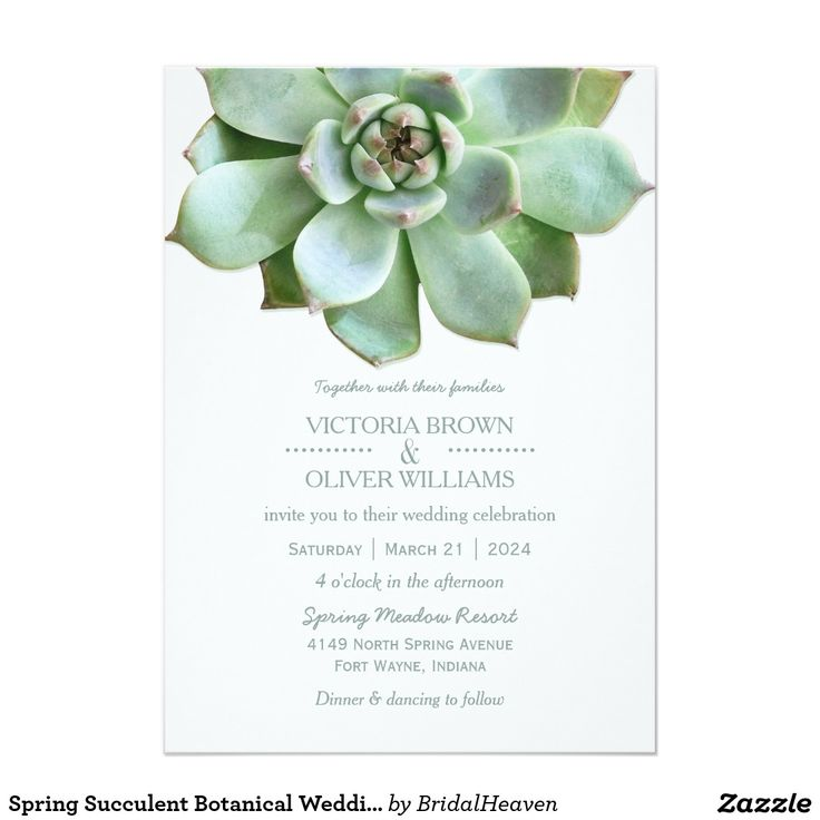 Spring Succulent Botanical Wedding Card Cute, elegant succulent plants designed on custom Formal Wedding Invitations. The lovely shades of green will be perfect for your SPRING COUNTRY WEDDING | SUCCULENT THEMED WEDDING | MODERN BOTANICAL WEDDING or CASUAL OUTDOOR WEDDING! All the sample text can be fully customized with your own wording. Feel free to change the fonts, colors & sizes of the text as well. ((You can find the matching wedding essentials & favors in this store, Bridal Heaven…
