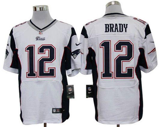 Nike Patriots #12 Tom Brady White Mens NFL Elite Jersey