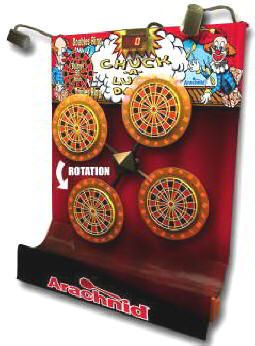 Chuck A Luck Multi-Dart Electronic Dart Board Machine Coin Operated From Archanid Darts  Get More Information about this game at: http://www.bmigaming.com/games-catalog-arachnid-darts.htm
