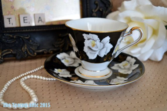 Shafford Vintage Hand Painted Black Teacup and by TheTeacupAttic
