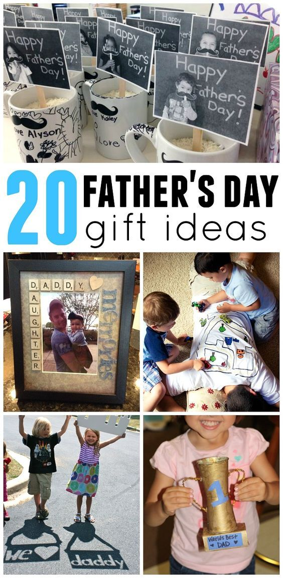 20 Father's Day gift ideas from kids! Great craft ideas including photo frames, shirts, mugs, and more!