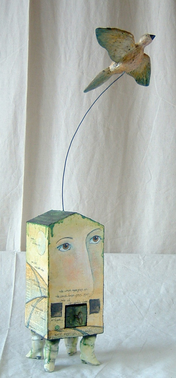 """""""Go I must"""" ~ Mixed media sculpture by Kathleen Stoltzfus"""