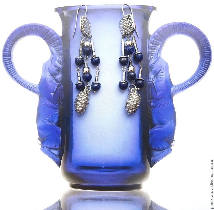 """Купить Серьги """"Серебряный лес"""" (лазурит) - тёмно-синий, синий цвет, лазурит, гематит"""