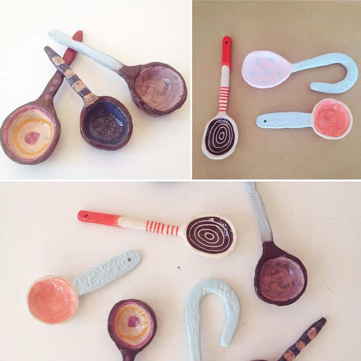 Hand built spoons for use or home decor from black and white clay. New designs soon !
