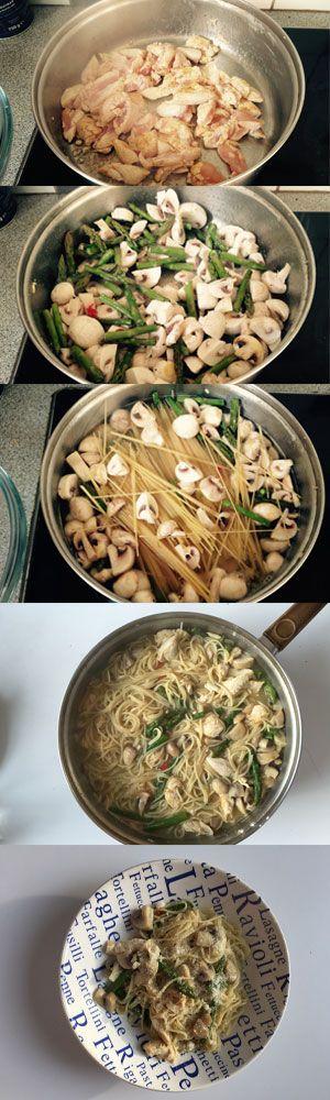 Recept voor Pasta met kip, asperges en champignons