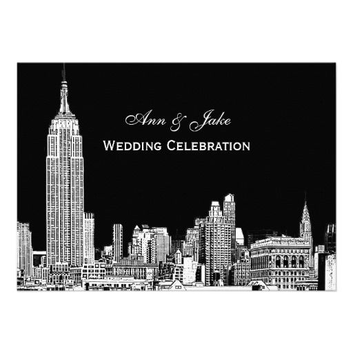 NYC Skyline 01 Etched DIY BG Color Wedding Invite