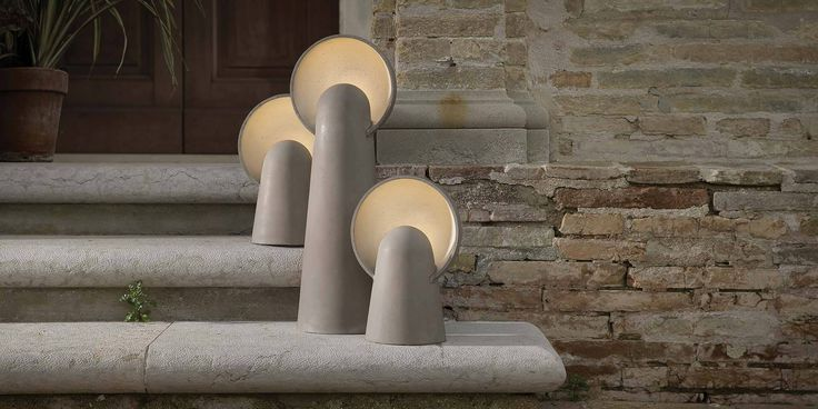 Romeo #outdoor #indoor #tablelamp #floorlamp Dove grey concrete and frosted glass