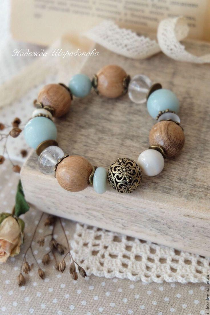 """Купить Браслет """"Капель"""" - бирюзовый, бирюзовый браслет, браслет на резинке, браслет с камнями, браслет с амазонитом"""