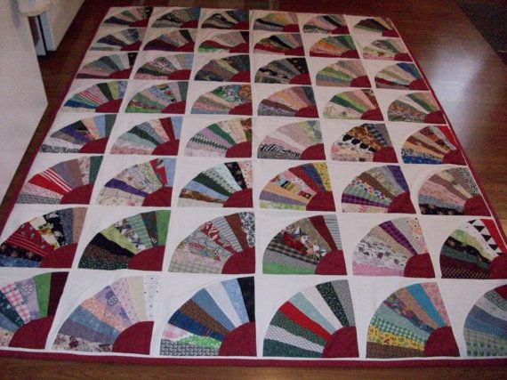 New Handmade Grandmothers Fan Quilt 90 X 68 Quilts For