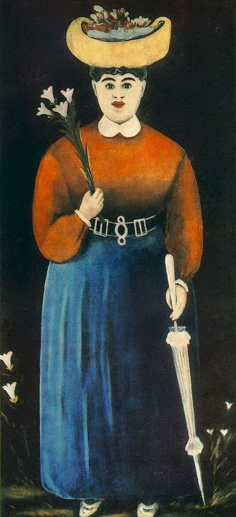 Niko Pirosmani, a Georgian primitivist painter (1862-1918). Woman with Flowers and Parasol. Art Museum of Georgia, Tbilisi, Georgia