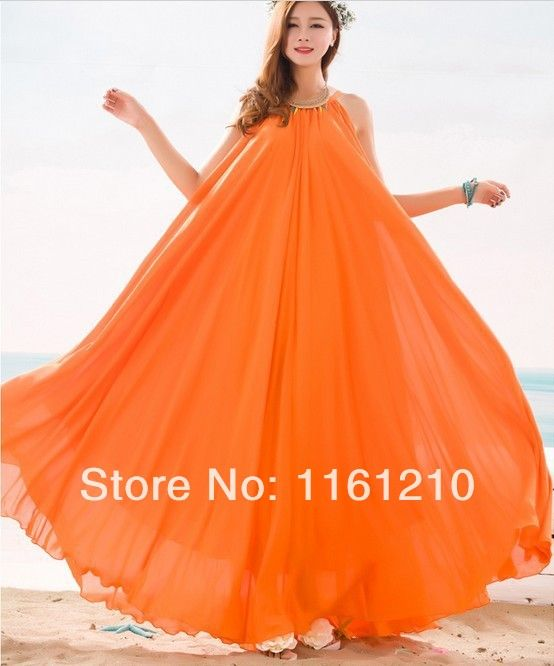 >> Click to Buy << Orange Summer Bridesmaid Sundress Holiday Beach Maxi Dress Beach Wedding Party Guest Sundress Plus Size Boho maternity #Affiliate