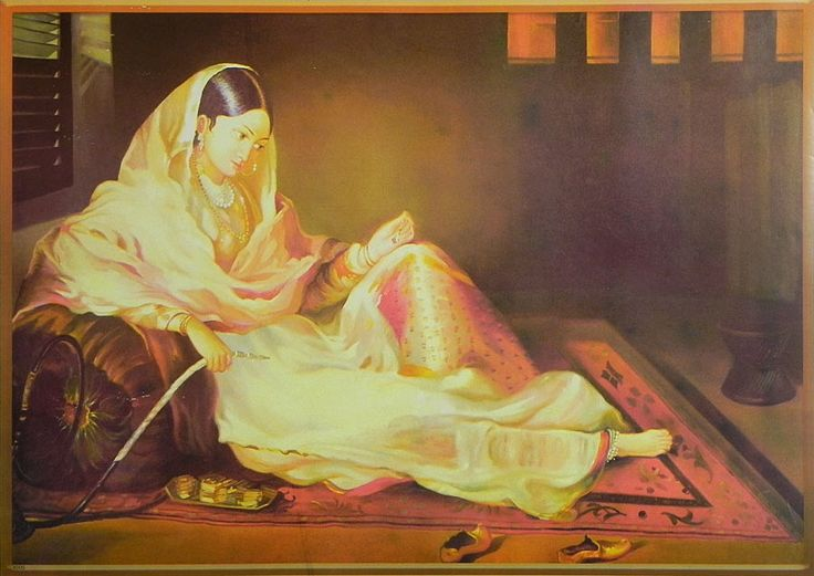 Mughal Courtesan with Hookah (Reprint On Paper - Unframed)