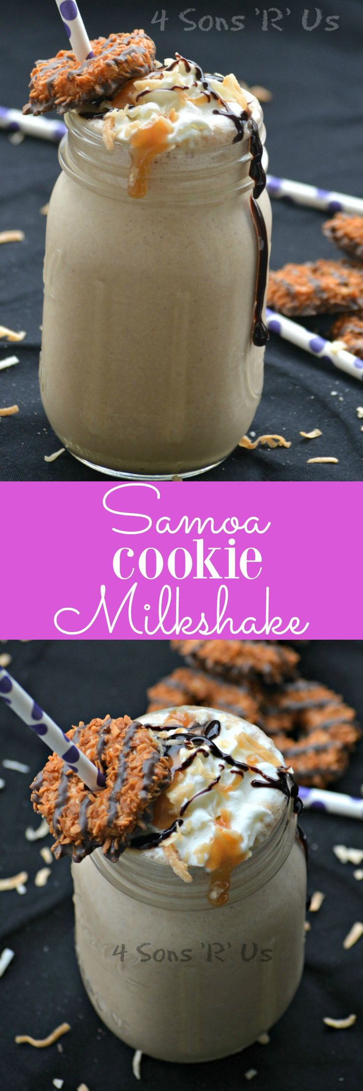 A thick and creamy milkshake that tastes exactly like the beloved Girl Scout Cookie. This Samoa Cookie Milkshake is a winning flavor combination.