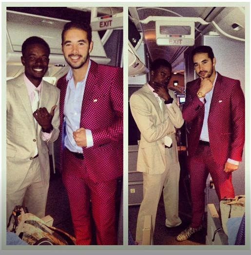 Dee Gordon and Andre Ethier after today's game. Love Andre's red suit! He looks gorgeous! #Dodgers