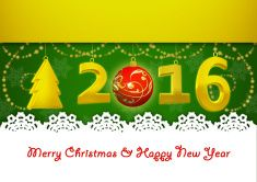 New Year 2016 and Merry Christmas - illustration vector art illustration