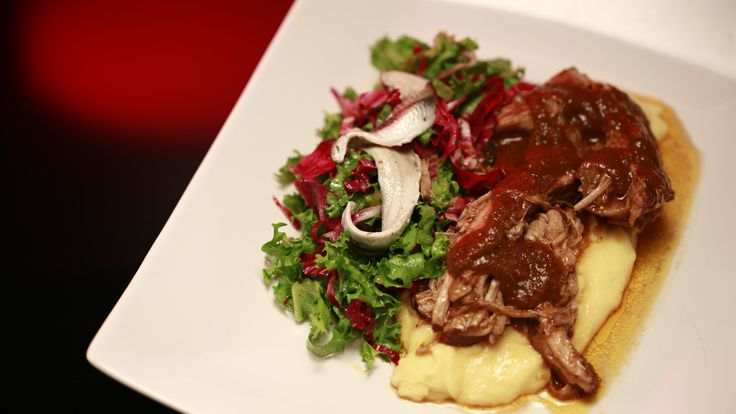 Bree and Jessica's Braised Pig's Cheek with Wet Polenta: http://gustotv.com/recipes/lunch/braised-pigs-cheeks-wet-polenta/