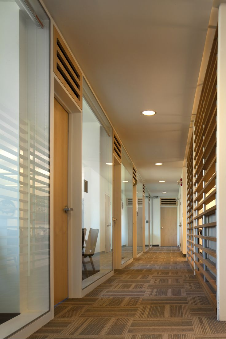 First Peoples House, Victoria, BC Office corridor, Formline Architecture, Photo: Nic Lehoux