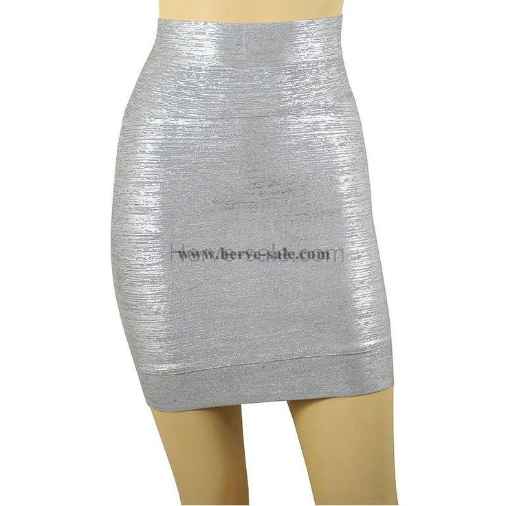 Herve Leger Silver Foil-Print Skirt S013S