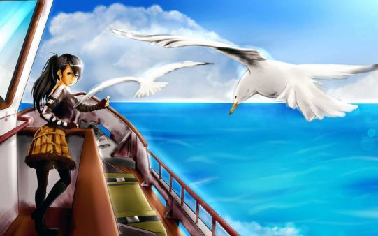 A beautiful picture of #Art #Sea #Girl #Boat Gulls #Birds #anime Wallpaper downloaded from http://alliswall.com