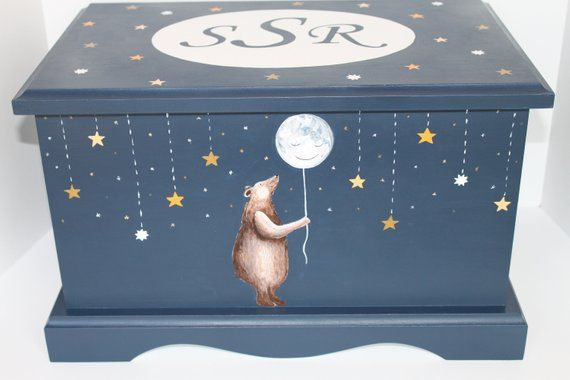 Rocket and planets Personalised Baby Boy Blue Memories Keepsake Box CG1309B-3
