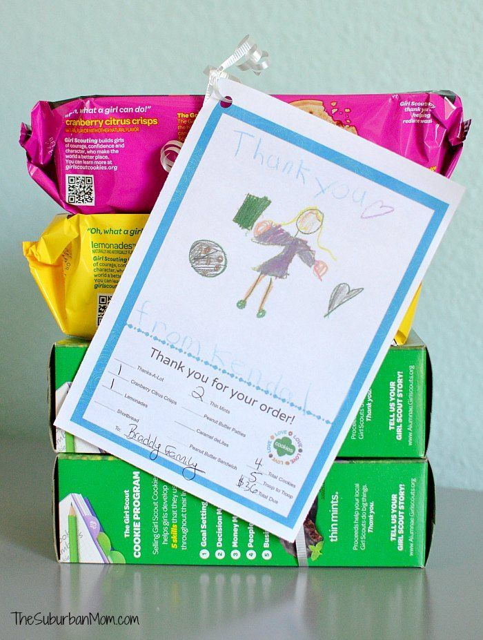 UPDATED with NEW Cookies! This Girl Scout Cookies Thank You Notes Free Printable makes it easy for Girl Scouts to thank their cookie customers. A good Troop activity for cookie pin.