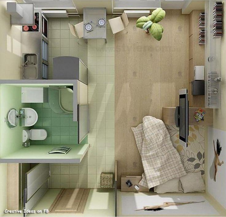 MONOAMBIENTE PEQUEÑO EN 3D ----                Obviamente se trata de un plano de un solo piso destinado a un departamento pequeño. Su aspecto cerrado no deja ver si se encuentren una planta baja o se trata de una construcción de edificio en vertical. Eso no nos importa actualmente, considerando que se podría aplicar a todos los usos.