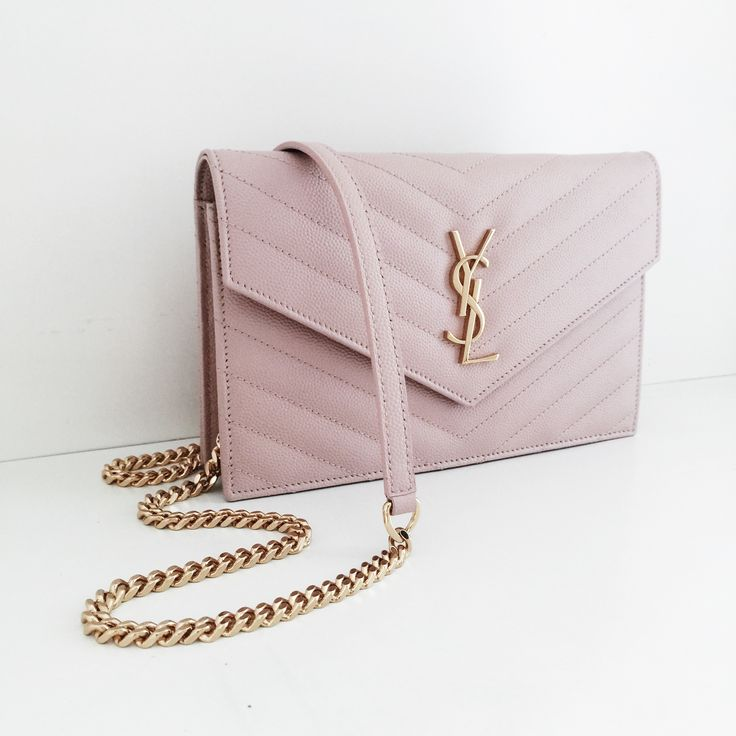 Saint Laurent Monogram Wallet on Chain WOC pale pink ghw