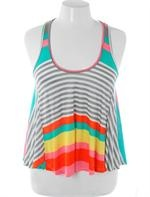 Plus Size Colorful Stripe Loose Tank Top