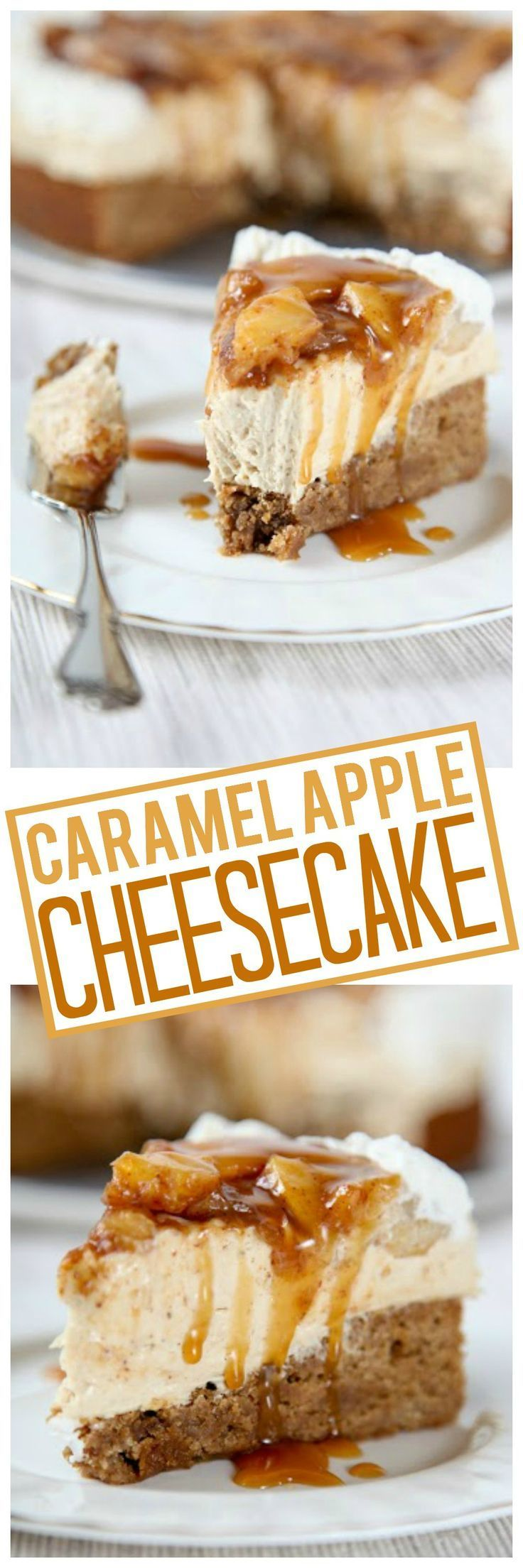 Creamy caramel cheesecake inside a Cinnamon blondie crust topped with cinnamon apples and a decadent caramel drizzle.