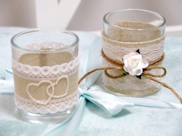 2x Teelichtglas Vintage Hochzeit Creme Tischdeko Deko