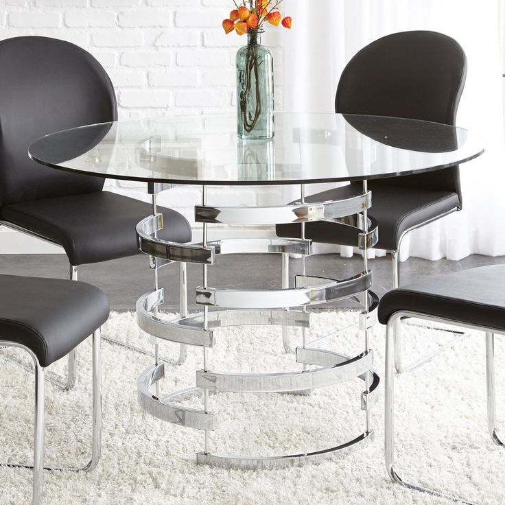 Steve Silver Tayside Tempered Glass Top Dining