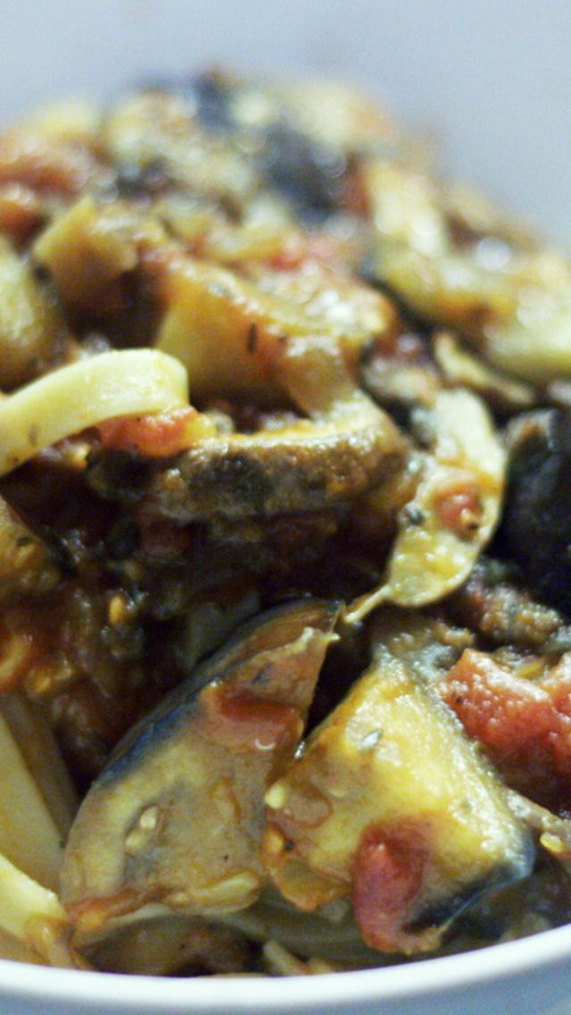 kitchen boss eggplant caponata%0A Fettuccine with Mushrooms and Eggplant