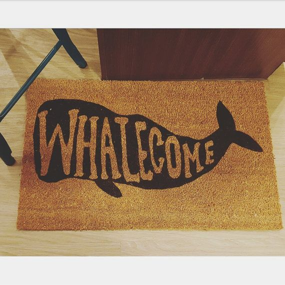 Whalecome Welcome Mat Nautical Whale Themed Gift By JPartyDesigns