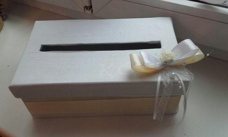 Krabička na svatební přání (krabice od bot,látka,mašle)