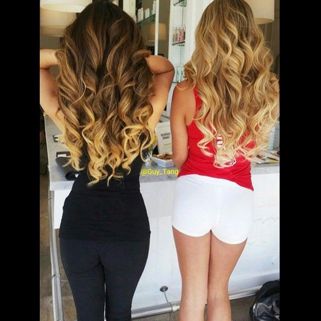 @arikasato wearing @bellamihair balayage 1C/18 and her friend wearing 8/60 hair extensions by Guy Tang
