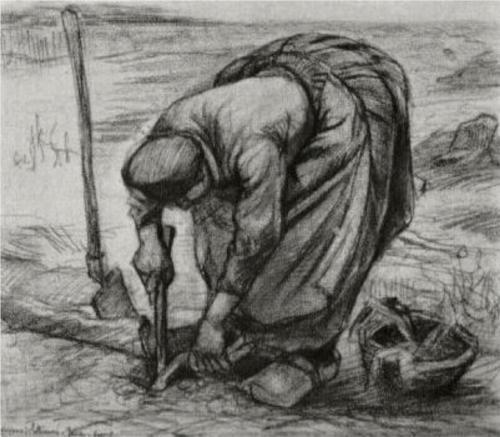 Vincent van Gogh: Peasant Woman, Planting Beets Nuenen: June-July, 1885 (Location unknown)
