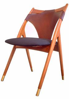 Fredrik Kayser, Leather, Wood and Brass Sidechair for Vatne Lenestolfabrik, 1960s.