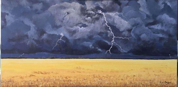 Original Acrylic Painting  Prairie Lightning by KristiBonham