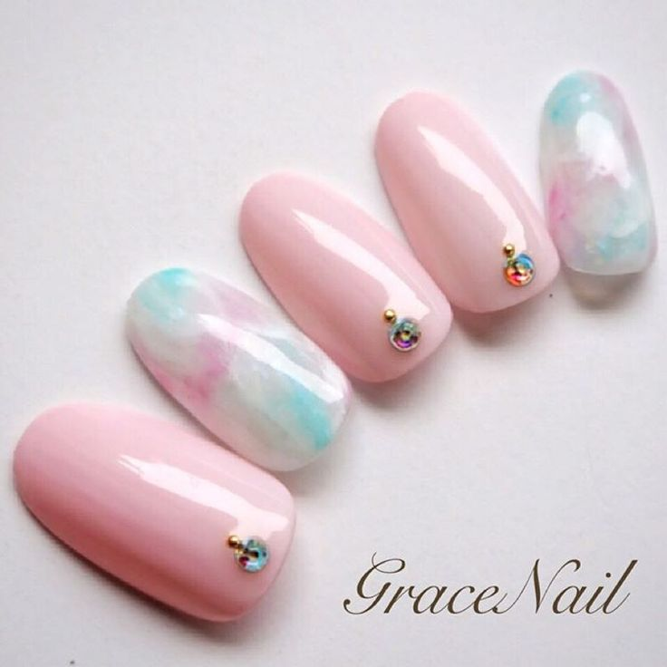 pink marble nails cotton candy