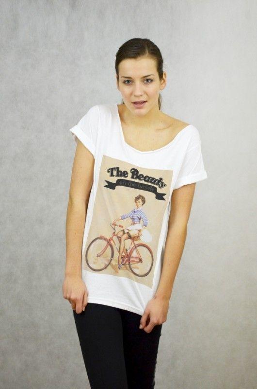 BEAUTY - Koszulka Oversize szeroki dekolt T-shir