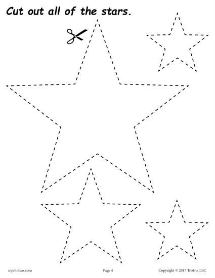 FREE cutting worksheets. Includes a star cutting practice worksheet plus 11 other shapes. Great for toddlers, preschool, and kindergarten! Get all of the shape scissor skills worksheets here --> http://www.mpmschoolsupplies.com/ideas/7556/12-free-printable-shapes-cutting-worksheets/