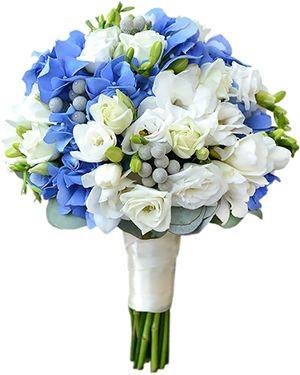 """Свадебный букет из голубой гортензии и белой эустомы """"Морские просторы"""""""