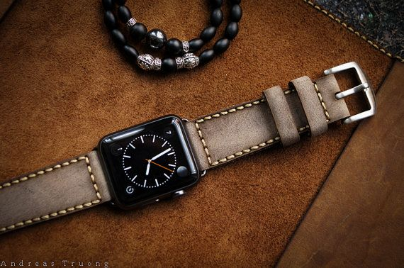 Handmade Leather Band Grey Vintage Leather incl. Lugs Adapter for Apple Watch (or Apple Watch Sport/Space Gray) 42mm or 38mm