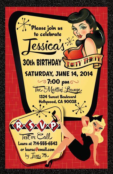 Pin-Up Girl Rockabilly Birthday Invitation